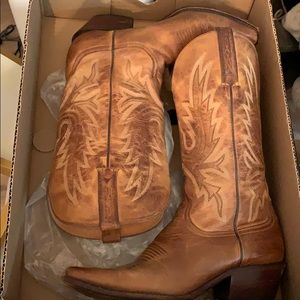 Charlie Horse Leather Light Brown Cowboy Boots